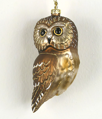 Cobane Blown Glass Northern Saw Whet Owl Bird Christmas Tree Ornament