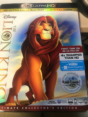 The Lion King 4K Ultra HD+Blu Ray+Digital SEALED New+Slipcover free shipping
