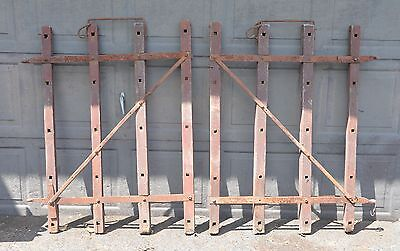 2 antique 1800's field drag repurpose as garden gate table wine rack collectible