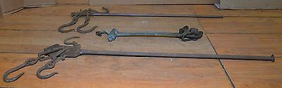 2 hand forged & lettered blacksmith made antique scale & 1 brass collectible lot