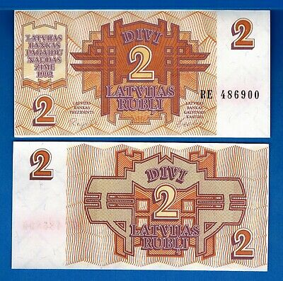 Latvia P-36 2 Rubli Year 1992 Symmetrical Design Uncirculated Banknote