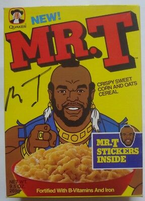 Mr. T Cereal Box SIGNED Autograph 1992 Quaker 1984 Sticker Comic Story back foo