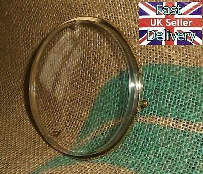 Vintage  Brass Clock Bezel & Acrylic Glass. Cleaned And Ready For Use.