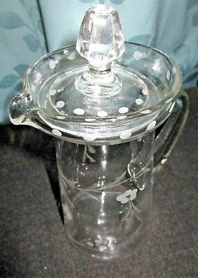 "Antique 9-1/2"" Tall Cut & Etched Glass Pitcher w/Cover~Applied Handle~STUNNING"