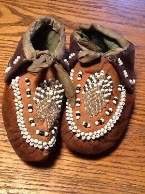 Pair Of Antique Native  Indian Childs Beaded Moccasins