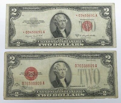 Two Dollar 1953-B United States Star Note & Two Dollar 1928-F United States Note