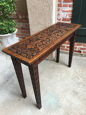 Antique English CARVED OAK Console Foyer Sofa TABLE Slender Arts Crafts Mission