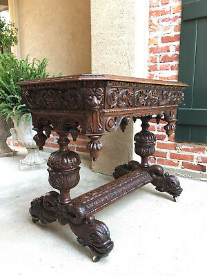 Antique English Victorian Carved Oak Library Table Desk Renaissance Dolphin