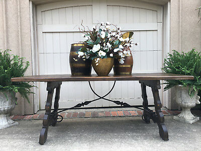 6.5 ft. Antique French Carved Oak DINING TABLE Farm Country Catalan Spanish Iron