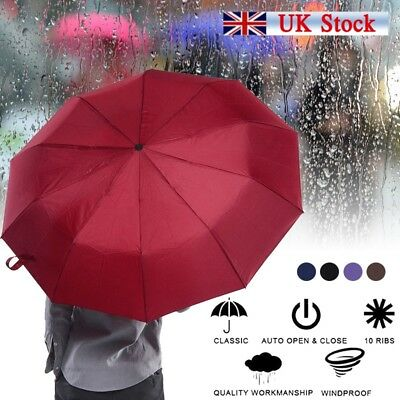 Compact Umbrella Automatic Foldable Windproof Strong Travel Wind UV Resistance