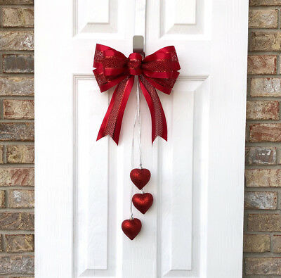 Handcrafted Red Glittery Valentines Day Bow Decoration with Red Heart Ornaments
