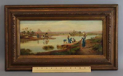 Antique Frederick Goodall Egypt Nile River Pyramid Orientalist Oil Painting, NR