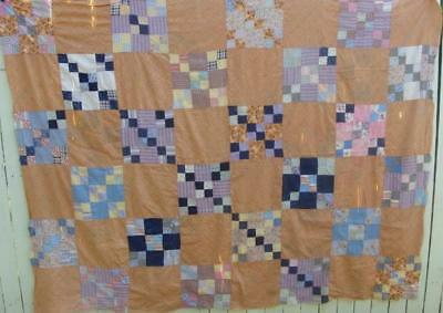"""Vintage Hand Sewn Quilt Top I83"""" x 63"""""""