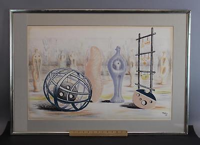 Vintage 1949 Henry Moore, Sculptural Objects, Surreal Colored Lithograph Print