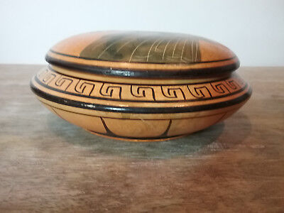 Vintage Greek Ceramic Pottery Lidded Powder Bowl Hand Made in Greece