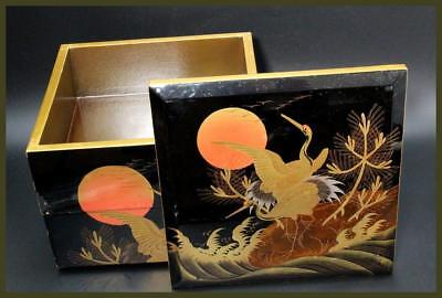 WBX14-2 Japanese old wooden Black lacquer Gold makie crane pine wave Jubako Box
