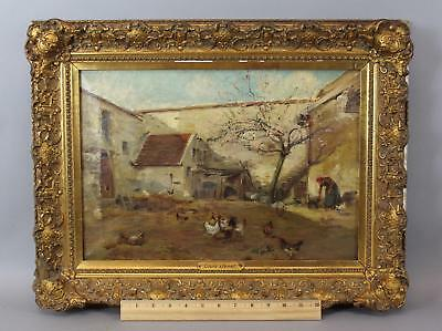 c1900 Antique LOUIS JANET Oil Painting, Country Chickens Farm Woman & Cat