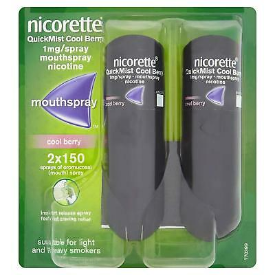 Nicorette quickmist duo 1mg mouth spray 2 x 150 new in sealed packet Cool Berry