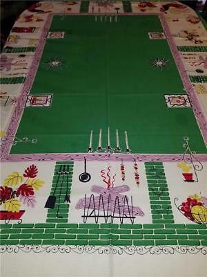 Vintage 54X65 MCM 1950s Shabby Farmhouse Kitchen Tablecloth Rooster Fireplace
