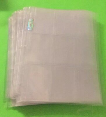 50 Loose 9 Pocket Card Sheets Sports Cards Binder Pocket Pages Very Good Used