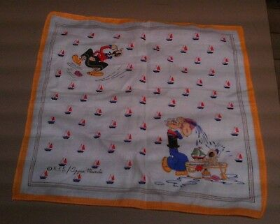 Vintage Popeye Cloth Handkerchief / Scarf Colored Pictures Signed Kes / Opera Mu