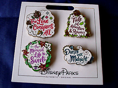 * PRINCESS QUOTES * New Disney Parks 4 Pin Set on Card - Character Trading Pins