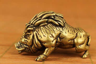 japan Old Copper Handmade Carved Boar Statue Netsuke hand piece table decoration