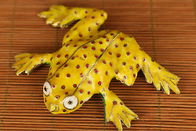 Rare Chinese Old Cloisonne Hand Painting frog figure Statue Home decoration