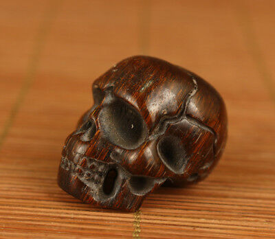 Antique Chinese Old Yak Horn Handmade Carved Skull Head Statue Netsuke Bead