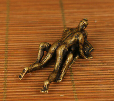 rare copper Old Handmade Carved sexual culture girl Statue netsuke pendant