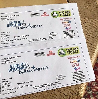 Ehrlich Brothers 2 Tickets Kategorie 1 Dream & Fly Oberhausen 03.01.2020