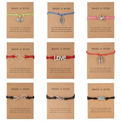 Charm Adjustable Bracelet 'Make A Wish' Friendship Rope String Card Jewelry Gift