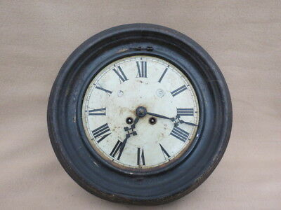 Antique French Metal Cased Striking Wall Clock For Restoration