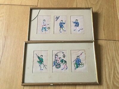 Pair of early Chinese pith or rice paper paintings boys at play