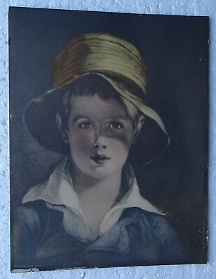 circa 1920's Print by John Drescher Co. NY - Portrait of Young Boy in Hat