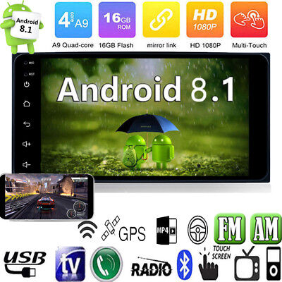 7'' 2 Din Android 8.1 Quad Core Car Stereo MP5 Player GPS Navi WiFi FM AM Radio