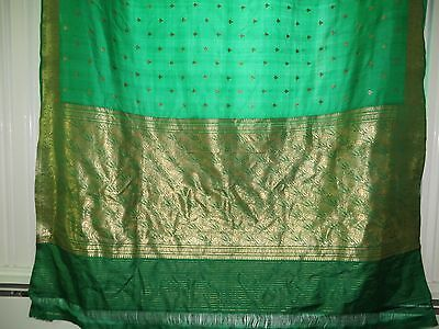 1954 Emerald Green Silk with Gold Embroidery, Wedding Sari, Very Good Condition