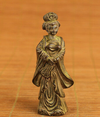 Rare bronze Old handmade carving belle Statue figure table home decoration