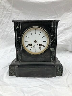 Victorian Slate and Marble Chiming Mantle Clock requiring restoration fair cond.