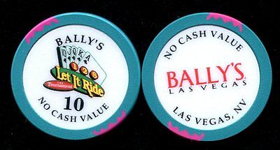 $10 Las Vegas Bally's Let it Ride NCV Casino Chip - Near Mint