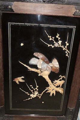 Antique/vintage Oriental Chinese Mother Of Pearl Carved Pictures Wooden Frame