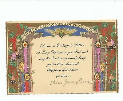 Vintage Christmas Card Arts & Crafts Art Deco Design BUSY Candles Aglow Holly Be
