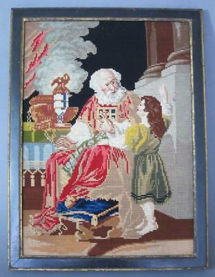 FATHER CHRISMAS ANTIQUE TAPESTRY PICTURE NEEDLEWORK SAMPLER 1850 embroidery    h