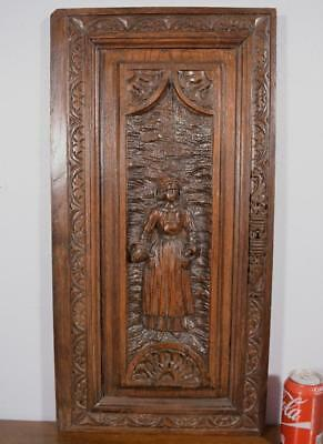 Antique French Breton/Brittany Wood Panel/Door/Woodcarving of a Woman