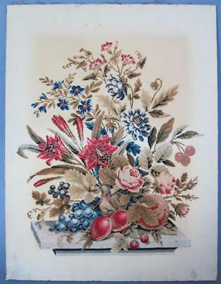 "Beautiful Antique Floral Tapestry 1850 21"" X 16"" Shabby Chic vintage           b"