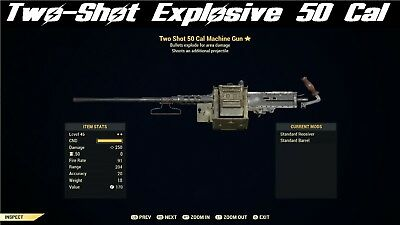 Fallout 76 (PC) Two-Shot Explosive 50 Cal +3 other TSE weapons of your choice