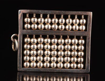 Tibet Silver Abacus Active Beads Handmade Rare Necklace Pendant Statue