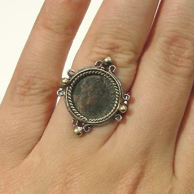 Antique Ancient Constantine the Great Roman Emperor Bronze Coin, Silver Ring, NR