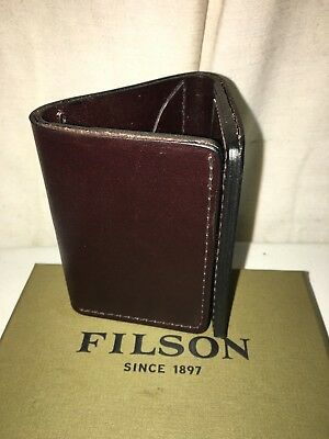 Brand New Filson Made In Usa Brown Leather Trifold Wallet $135 1St Quality