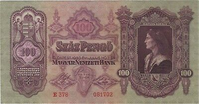 1930 100 Pengo Hungary Currency Unc Banknote Note Money Bank Bill Cash Budapest